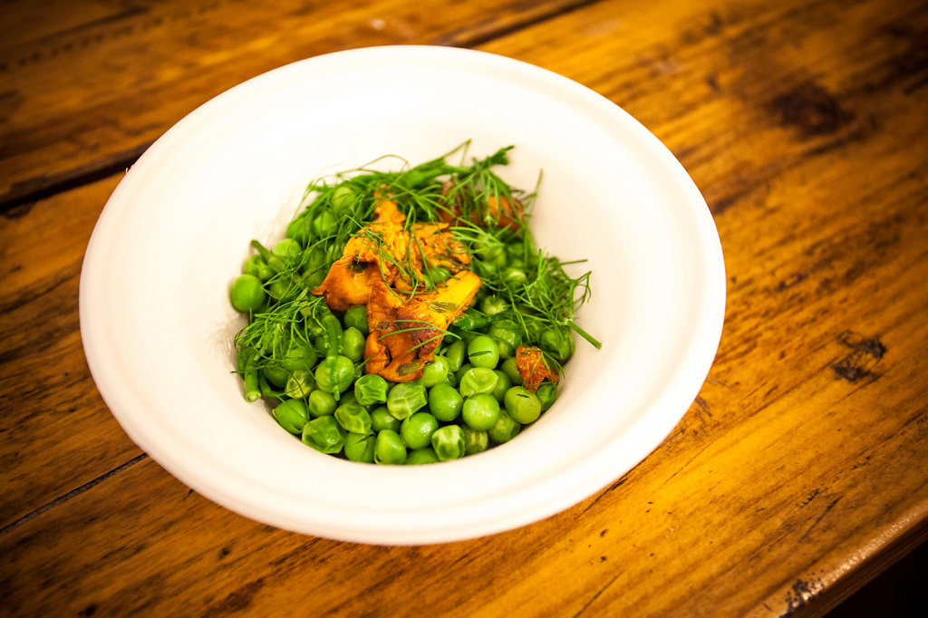 Wild girolles, peas, samphire, and dill
